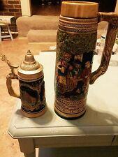 vintage german beer stein and tall beer mug