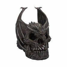 More details for draco skull 19cm - spiral dark gothic draco skull dragon figurine ornament