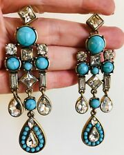 ZARA ELEGANT TURQUOISE CLEAR GLASS STONES DANGLE EARRINGS - NEW