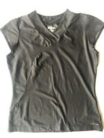 COLUMBIA TITANIUM Women's Top Shirt Cap Sleeve Black Print L Large V-Neck