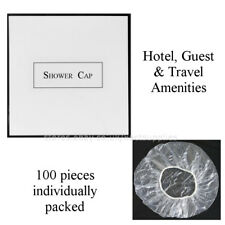 100pcs Elasticated Clear Shower Cap Disposable Hair Mask Travel & Hotel Supplies