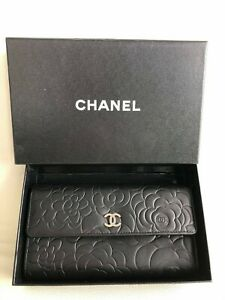 authentic Chanel Camilia lambskin wallet with coin pocket+box
