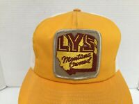 Vintage LYS Montana Owned Patch Trucker Mesh back Yellow Snapback Hat Cap  OSFA