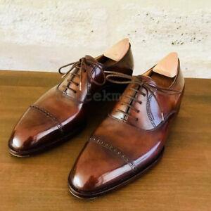 Handmade Men's Leather Cognac Patina Classic Oxford Custom made Dress Shoes-419