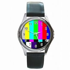 TV Test Screen Television Test Color Bars SMPTE Leather Watch New!