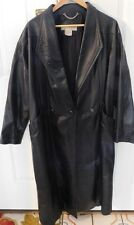 Women Coat Maggie Lawrence 100% Leather Lined Size M Long