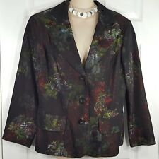Exclusive -CARTISE Sz 12 Black With Multi Color Print Blazer Dress Casual Jacket