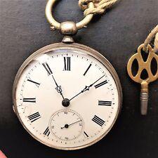historische HERREN TASCHENUHR, Schlüsselaufzug, wohl Silber, ca. 1870