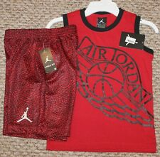New! Boys Nike Air Jordan Summer Outfit (Shirt, Shorts; Red/Black) - Size 5