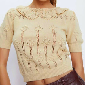 Zara Crochet Collar Vintage Style Jumper, Natural Colour Size S New