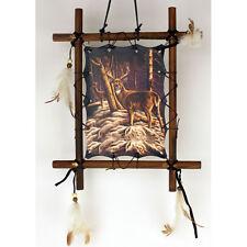 "11""x 9"" Deer Buck Hunting Dream Catcher Wall Hang Decor Feathers Framed Beads"
