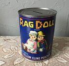 Vintage RAG DOLL Peach Compote Tin Can Coin Bank 1994 California Fruits