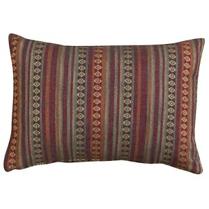 Turkish Style Woven Cushion in Burgundy Red. Heavyweight Fabric. 43cm x 30cm.