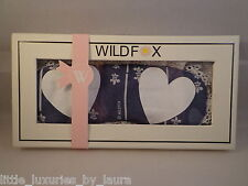 New In Box WILDFOX COUTURE Fleur de Lis Hearts Sleep Eye Mask Grey Skies
