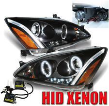 FOR 03 04 05 06 07 HONDA ACCORD HALO LED PROJECTOR HEADLIGHTS LAMPS W/6K HID KIT