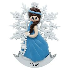 PERSONALIZED Frozen Brunette Snowflake Princess Christmas Ornament Holiday Gift