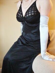 BLACK Silky Lacy Long Formal Length Bra Slip or Nightgown L-XXL BNWT