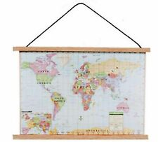 1:12 Scale Modern World Map Wall Hanging Chart Study School  Dolls House