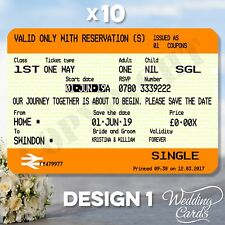 10 X Train Rail Tickets Wedding Birthday Invitations Party Invites Save The Date