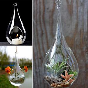 Set of 6 Glass Teardrop Baubles Tea light Candle Holders Wedding Tealight Holder