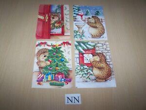 10 Christmas Cards & Envelopes - 4 designs  - Hedgehogs - 16 x 11.5cms - blank