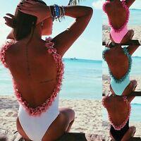 Women One Piece Swimwear Swimsuit Monokini Push Up Backless Bikini Bathing Beach