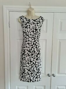 Ladies Lined Black & White Floral Summer Dress Size 22