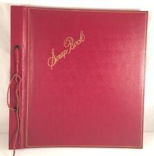 LARGE VTG Embossed Photo Album Scrapbook Red BLANK Pages Tie Binding BOOK