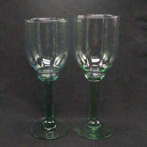 Green Wine Glass Goblets Set of 2 Barware