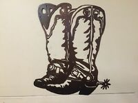 COWBOY BOOTS WESTERN METAL ART RANCH RUSTIC LODGE MOUNTAIN CABIN WALL DECOR