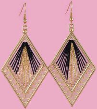 T1332 Gold Black Thread Earrings Rhombus Hook Fashion Girl/Lady Dangle Jewelry