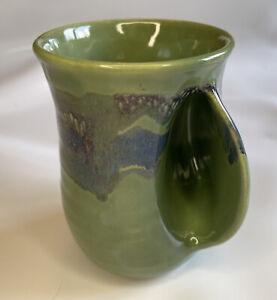Neher Art Pottery Left Hand Warmer Mug Cup Green Blue 2016 Signed Handmade