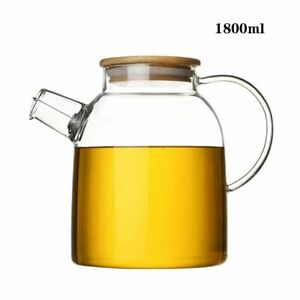 Glass Teapot Heat Resistant Large Clear Tea Pot Transparent Kettle Home Kitchen