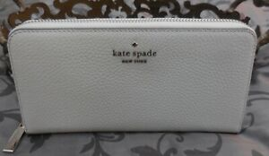 Kate Spade~LEILA Large Leather Continental Zip Around Wallet~CREAM~GREY~NWT $229