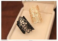 GOLD Metal  PUNK OPEN WORK LACE FLOWER  Finger  Ring ONE SIZE
