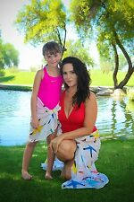 Mommy And Me Matching Sarongs Cotton Beach Wraps in Cute Starfish Print