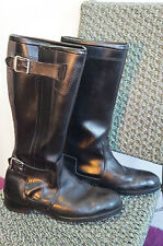 VINTAGE 70'S POLICE ISSUE LEATHER MOTORCYCLE BOOTS SIZE 8 MADE ENGLAND