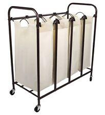 Tidy Living - 4 Bag Laundry Sorter - Rolling Hamper Cart Organizer Basket