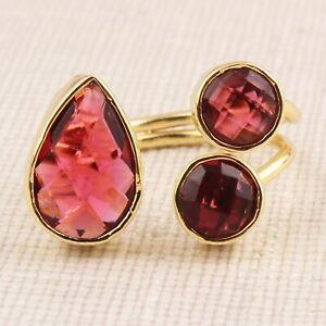 Stylish Red Quartz Round Pear Shape Yellow Gold Plated Handmade Adjustable Ring