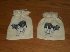 2 Burlap Gift Bags With Cows And Drawstring Ties (New)