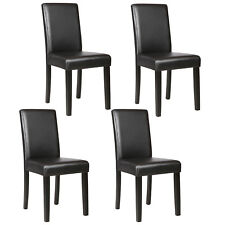 Set of 4 Dining Chair Elegant Design Kitchen Dinette Room Black Leather Backrest