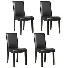 4 Pcs Leather Dining Room Chairs Elegant Design Backrest Kitchen Furniture Black
