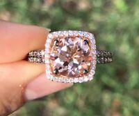 LeVian Ring Peach Morganite Chocolate Vanilla Diamonds Halo 14K Rose Gold NEW 7
