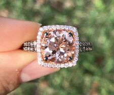 LeVian Ring Peach Morganite Chocolate Vanilla Diamonds Halo 14K Rose Gold NEW 7