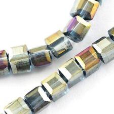 25 TSCHECHISCHE KRISTALL PERLEN GLASPERLEN -  Grau AB - 4mm Würfel X237