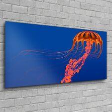 Wandbilder Glasbild Groß Kunstdruck Foto Bild 120x60 Orange leuchtende Qualle