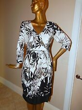 St John sz 10 Black White Stretch Knit Flower 100% Silk Dress USA