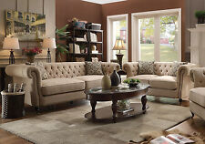 Traditional Living Room Furniture Beige Linen Fabric Sofa Couch Loveseat Set R7R