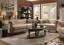 MAGELLAN Traditional Living Room Beige Tufted Linen Sofa Loveseat Couch Set NEW