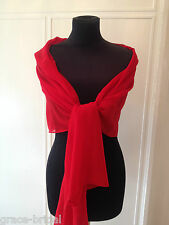 Red Chiffon Wrap Shawl Evening Wedding Bride Prom Cruise Samples